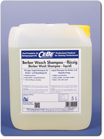 Berber Wash Shampoo-liquid - concentrated shampoo for in-plant rug washing from CEBE Reinigungschemie GmbH